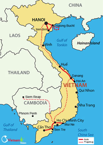 Ihre Reiseroute durch Vietnam mit dem Fahrrad