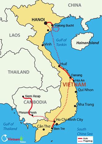 Ihre Reiseroute der Vietnam Kambodscha Rundreise