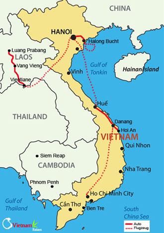 Ihre Reiseroute der Vietnam Laos Rundreise
