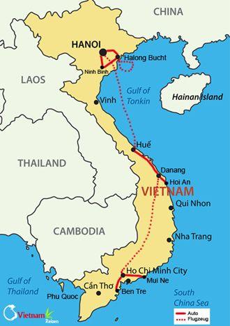 Ihre Reiseroute entlang Vietnams Küste