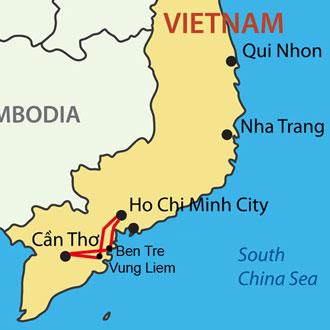 Ihre Reiseroute auf dem Mekong Delta