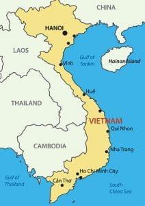 Vietnam Karte mit Sehenswürdigkeiten